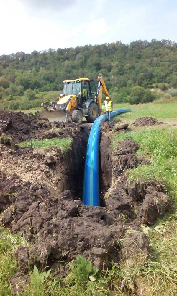 Trinkwasserrohr Baustelle