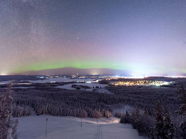Landschaftsbild Schweden mit Polarleuchten