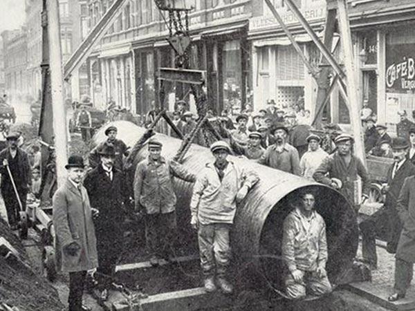Historisches Bild zur Verlegung der alten Wasserleitung in Groningen aus 1882